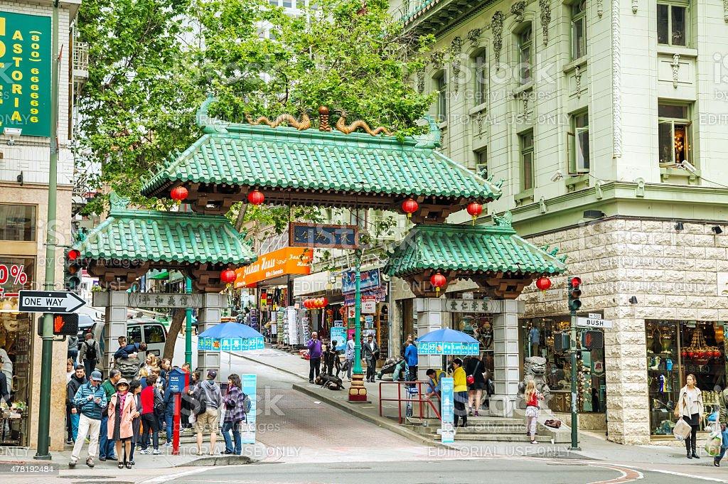 Gateway Arch (Dragon Gate) on Grant Avenue at Bush Street stock photo