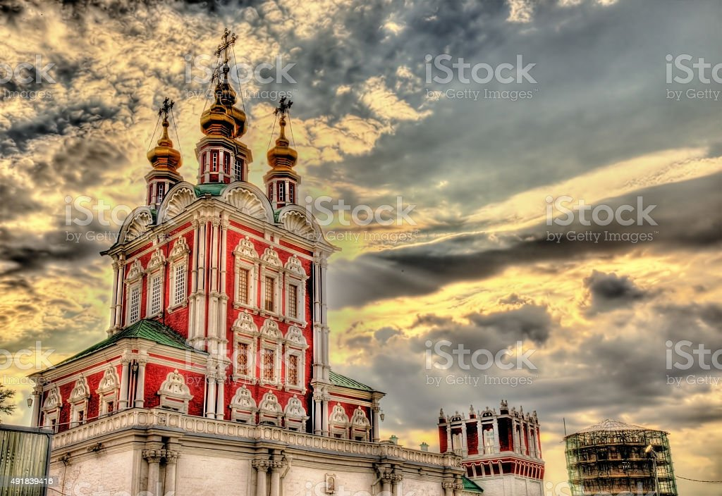 Gateway Church of Transfiguration in Novodevichy Convent - Mosco stock photo