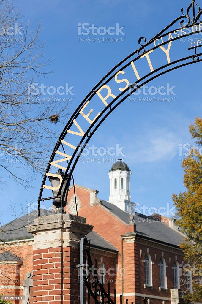 Gateway entrance with university sign royalty-free stock photo