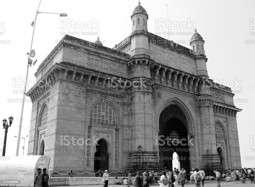 Gateway Of India in black and white view stock photo