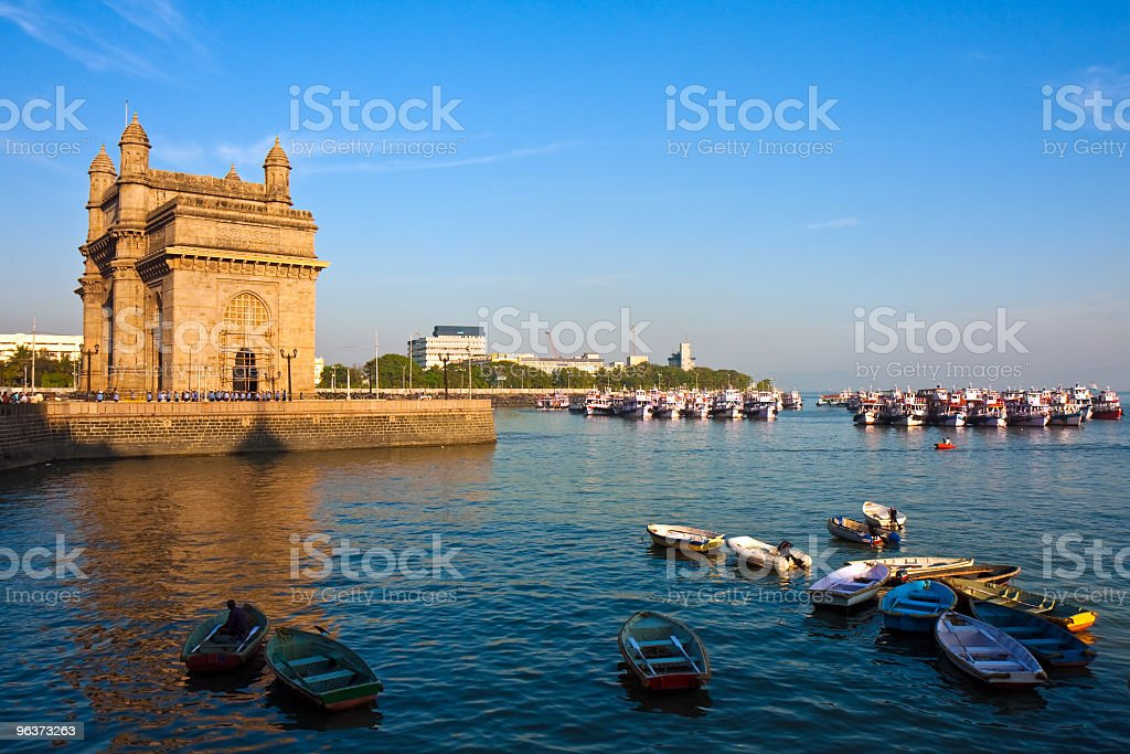 Gateway of India monument in Mumbai at sunset stock photo