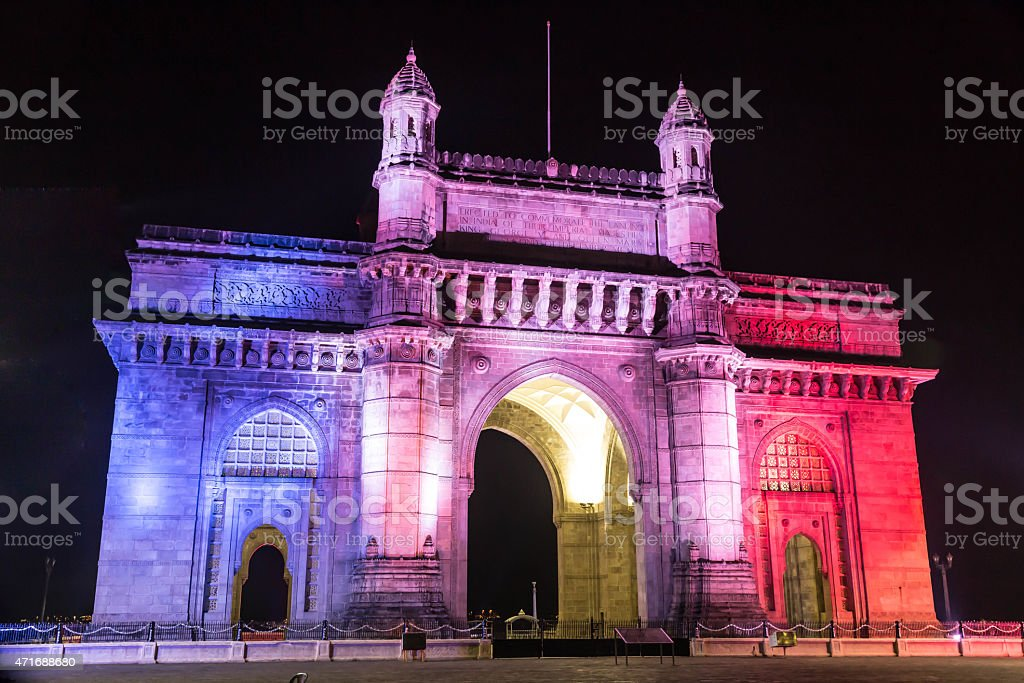 Gateway of India, Mumbai - Colorful Night View stock photo