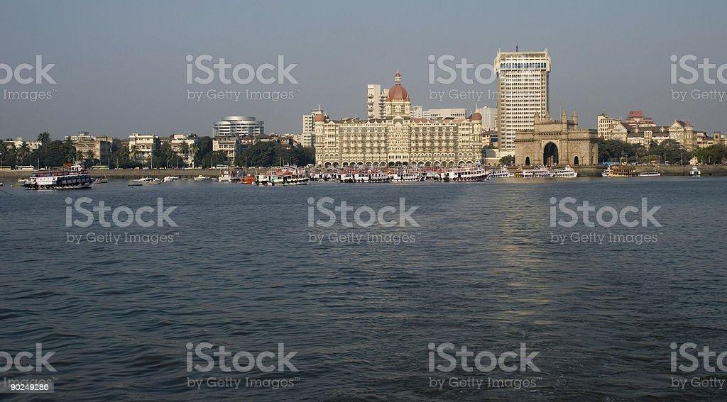 Gateway of India panoramic view with Taj Mahal Hotel Mumbai stock photo