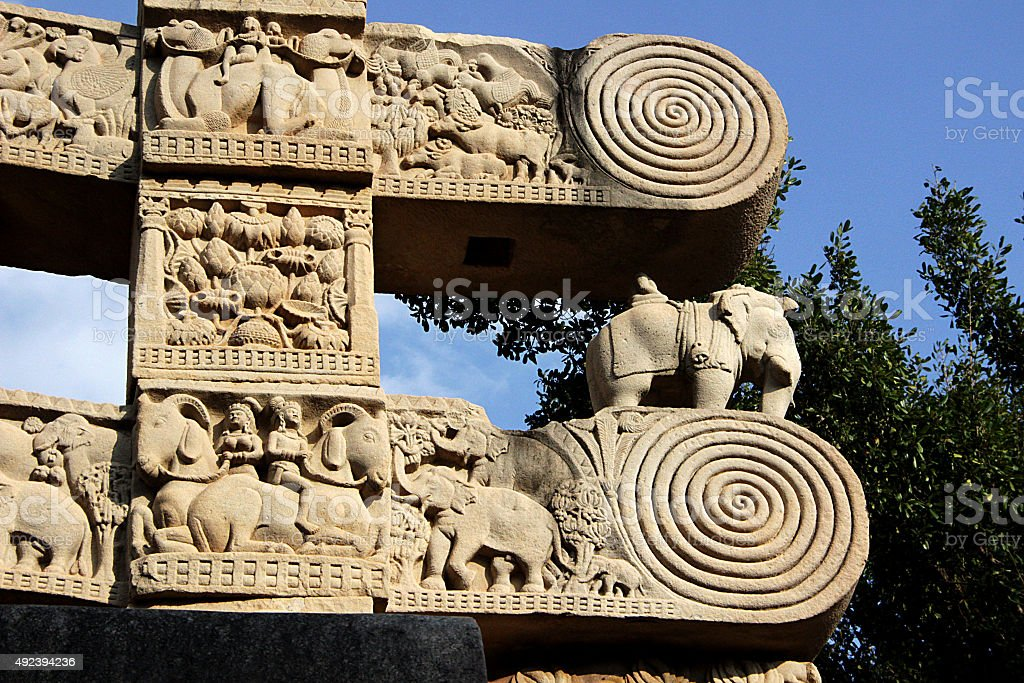 Gateway Pillar Top, Sanchi stock photo