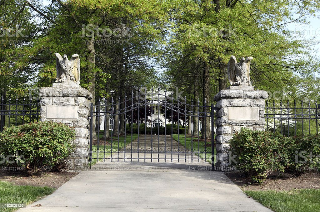Gateway to a Kentucky Mansion stock photo
