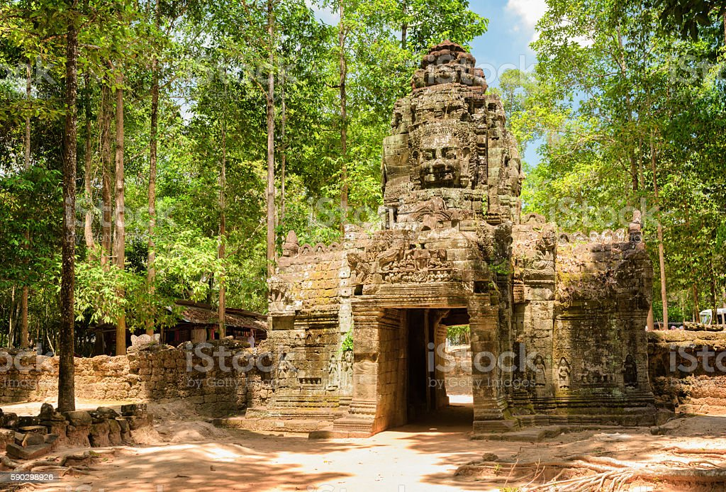 Gateway to ancient Ta Som temple in amazing Angkor, Cambodia stock photo