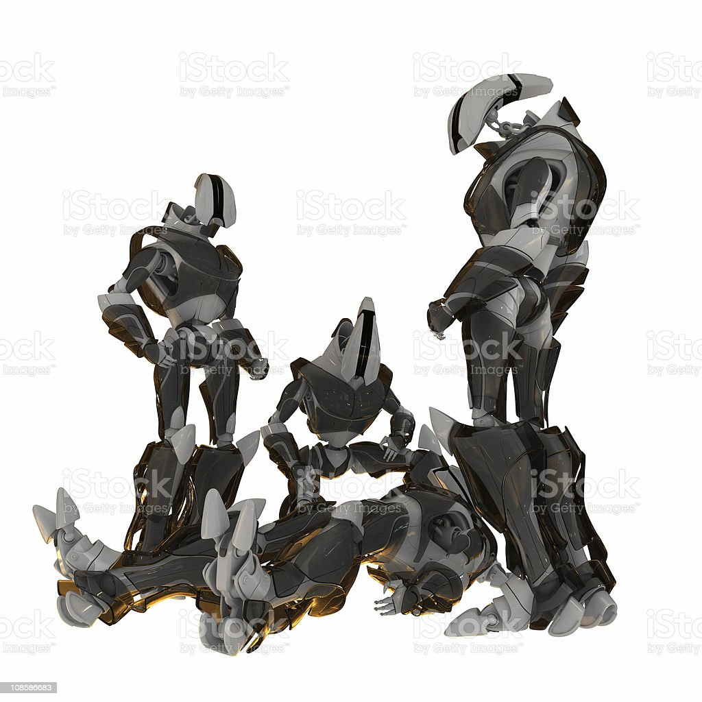 Gathered robots near dead or ill robot royalty-free stock photo