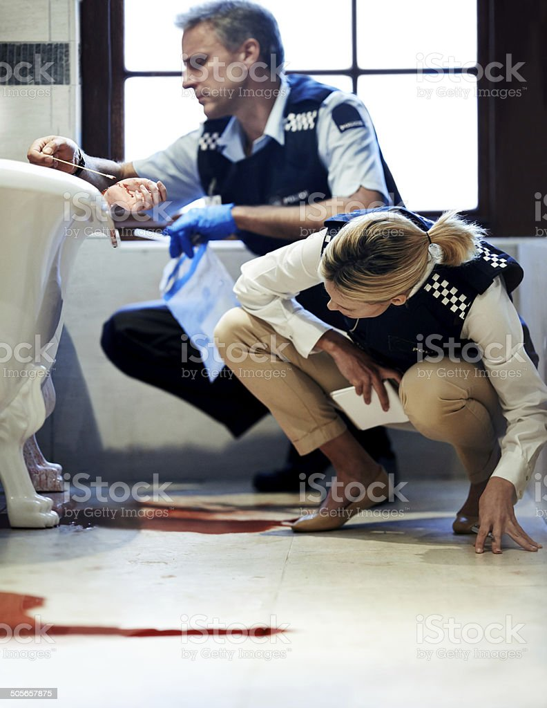 Gathering evidence requires thorough investigation stock photo