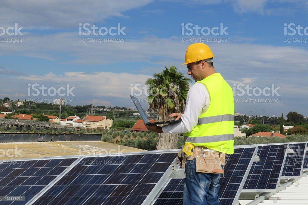 Gathering Solar Data stock photo