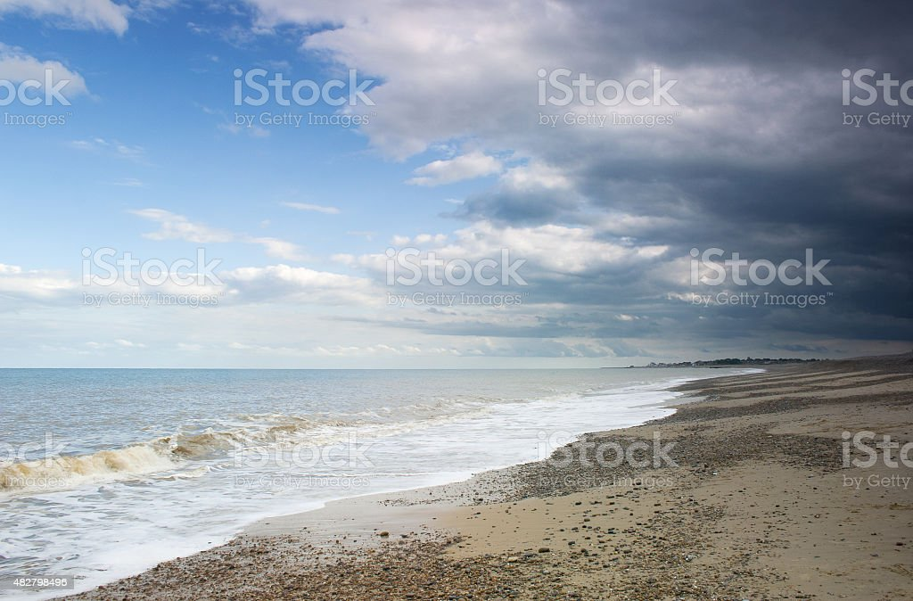 Gathering storm on Suffolk Heritage Coast Thorpeness to Aldeburgh, UK stock photo