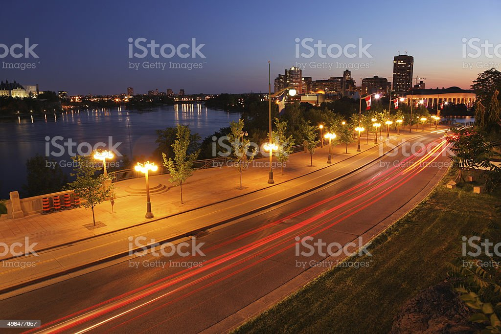 Gatineau City Urban Avenue at Night stock photo