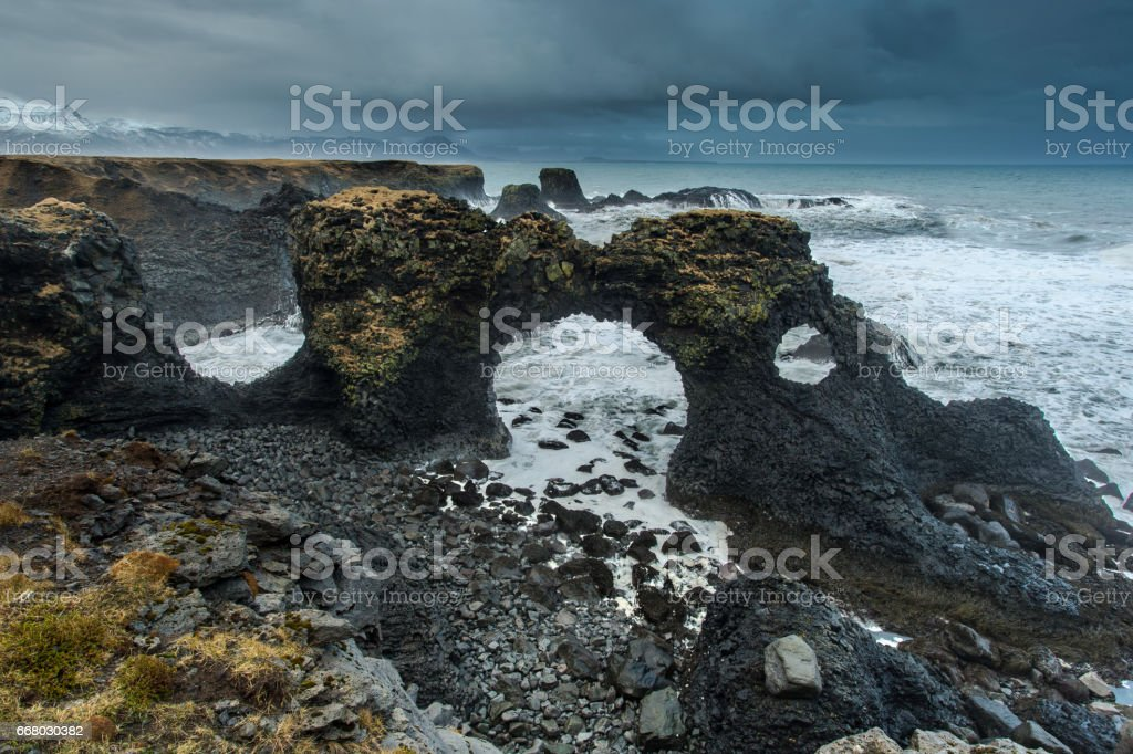 Gatklettur Arch Rock - Iceland stock photo