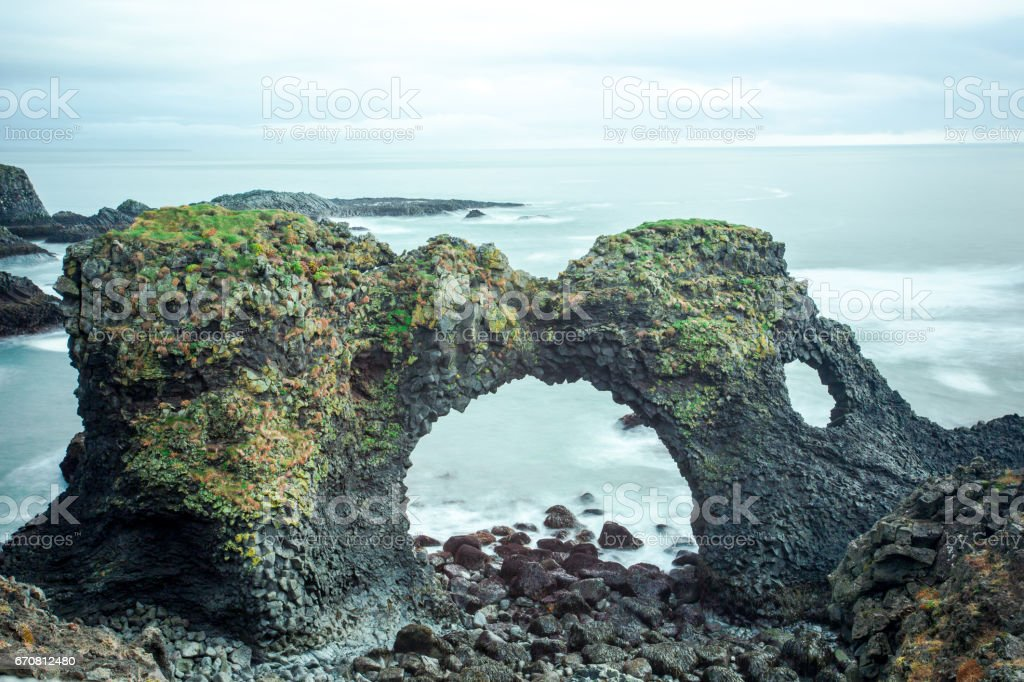Gatklettur The Stone Arch stock photo