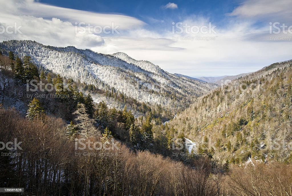 Gatlinburg Great Smoky Mountains National Park Winter Overlook Snow Landscape royalty-free stock photo