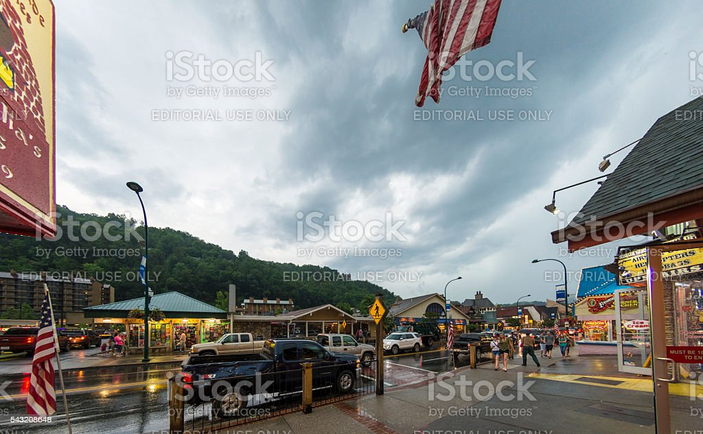 Gatlinburg Grey Sky stock photo