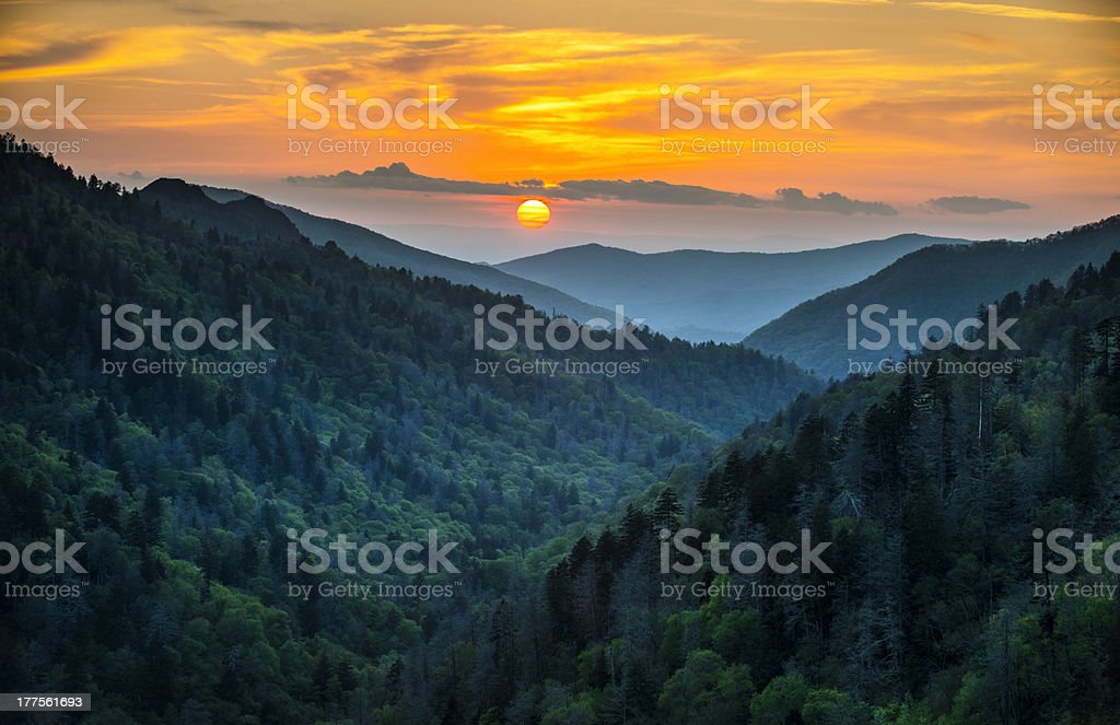 Gatlinburg TN Great Smoky Mountains National Park Scenic Sunset Landscape stock photo