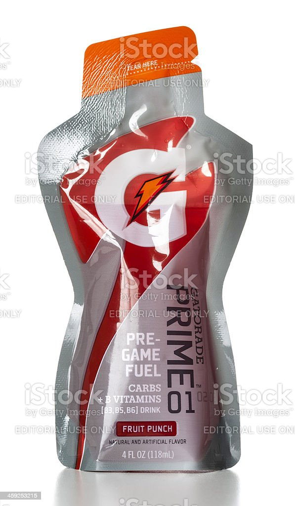 Gatorade Prime 01 Pre-Game Fuel Fruit Punch pouch stock photo