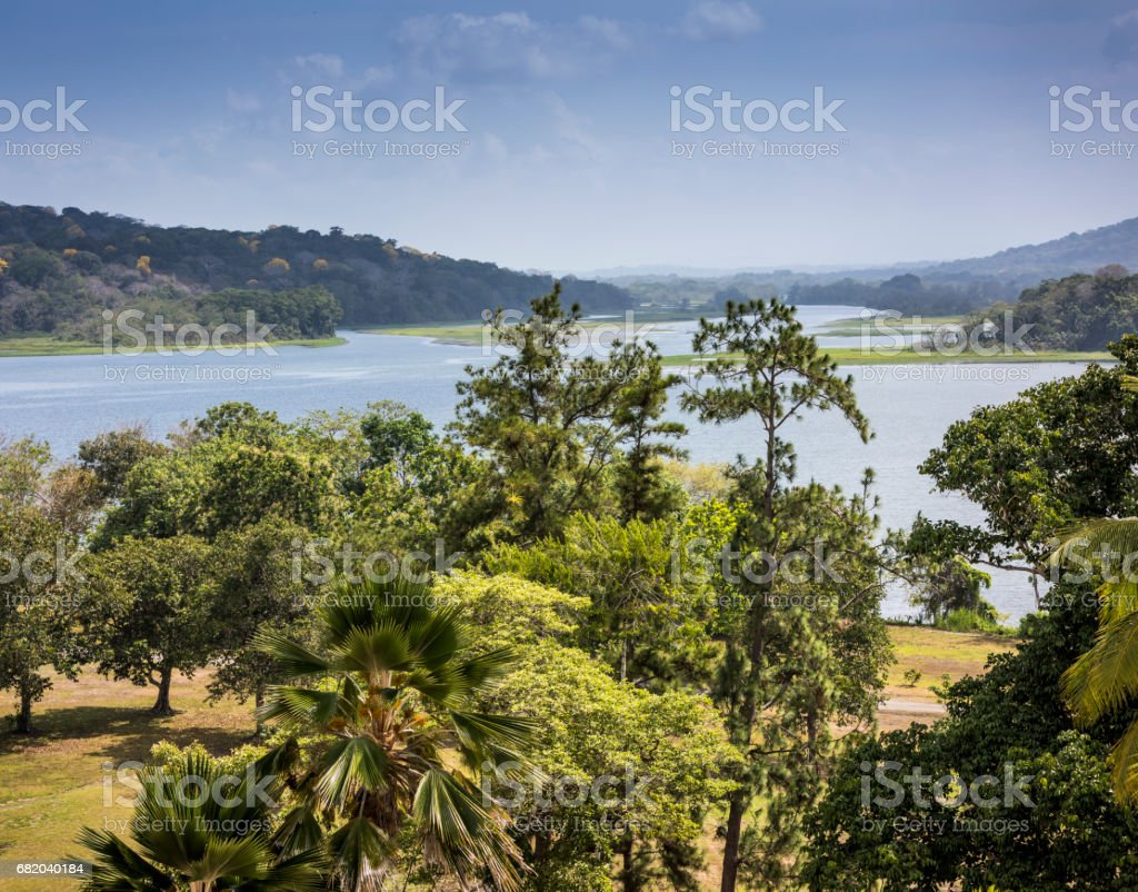 Gatun is an artificial lake that was created in the valley of the Chagres River, at the beginning of the 20th century, for the construction of the Panama Canal. stock photo