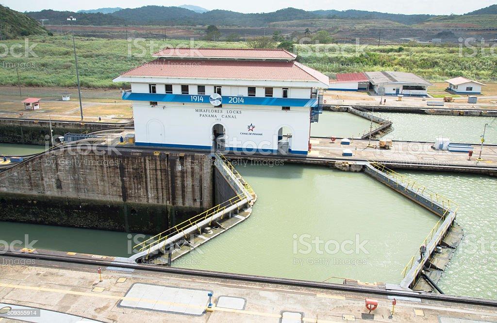 Gatun Locks and Gates, Panama Canal stock photo