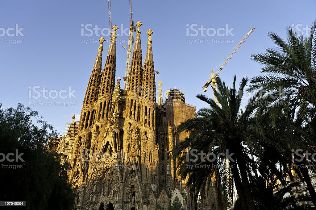 Gaudí cathedral Sagrada Família sunrise on golden spires Barcelona Spain royalty-free stock photo