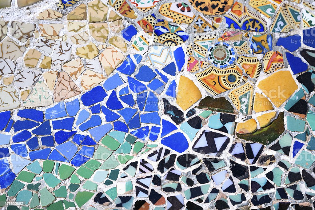Gaud? mosaic in Park Guell Barcelona Spain stock photo
