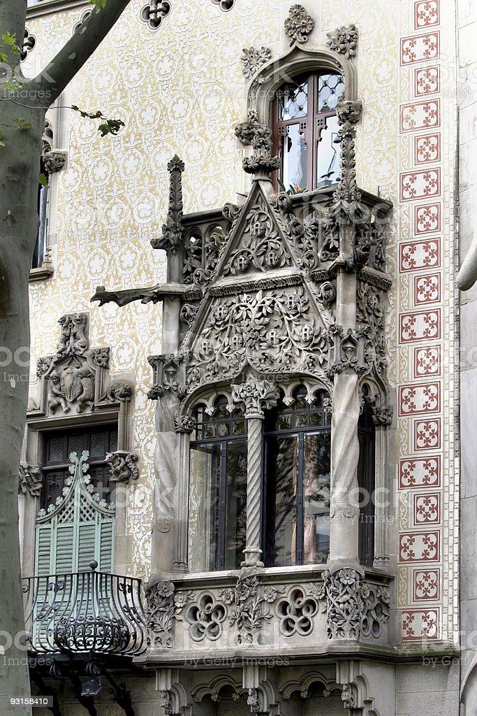 Gaudi Architecture Ornate Balcony Barcelona royalty-free stock photo