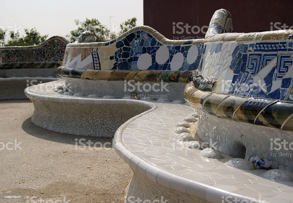 Gaudi Bench, Parc Guell, Barcelona, Spain royalty-free stock photo