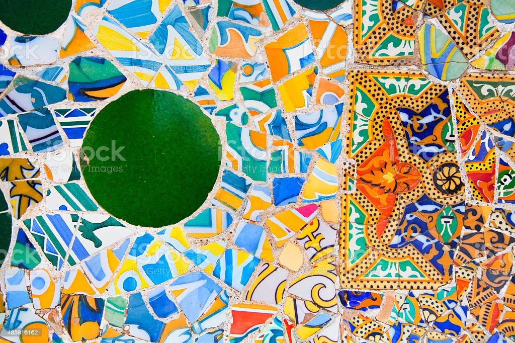 Gaudi ceramics, Park Guell, Barcelona, Spain stock photo