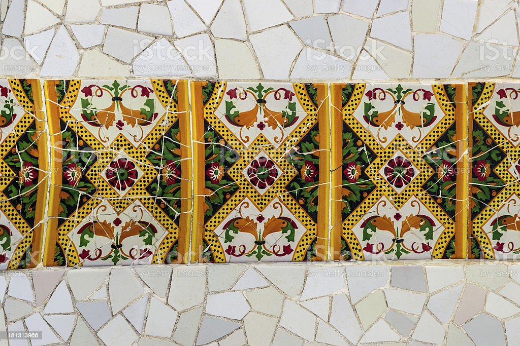 Gaudi design mosaic in Barcelona royalty-free stock photo