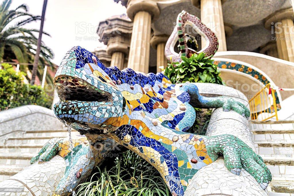 Gaudi lizard fountain at Parc Guell  Barcelona stock photo