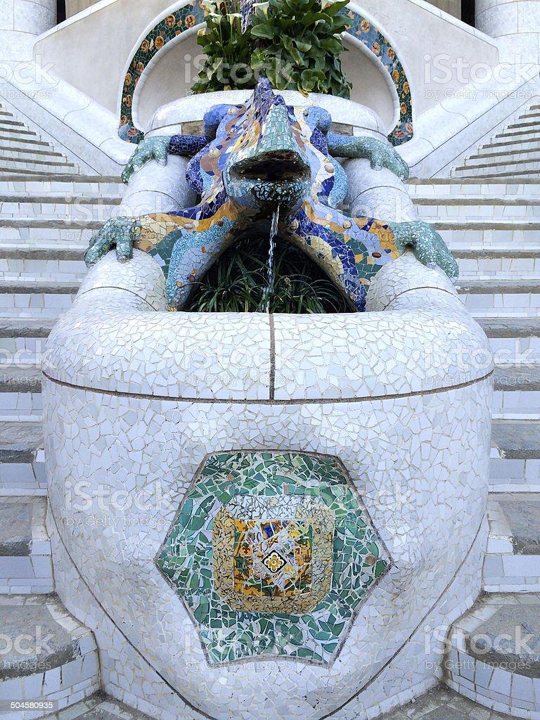Gaudi Mosaic Lizard At Park Gu?ll, Barcelona, Spain royalty-free stock photo