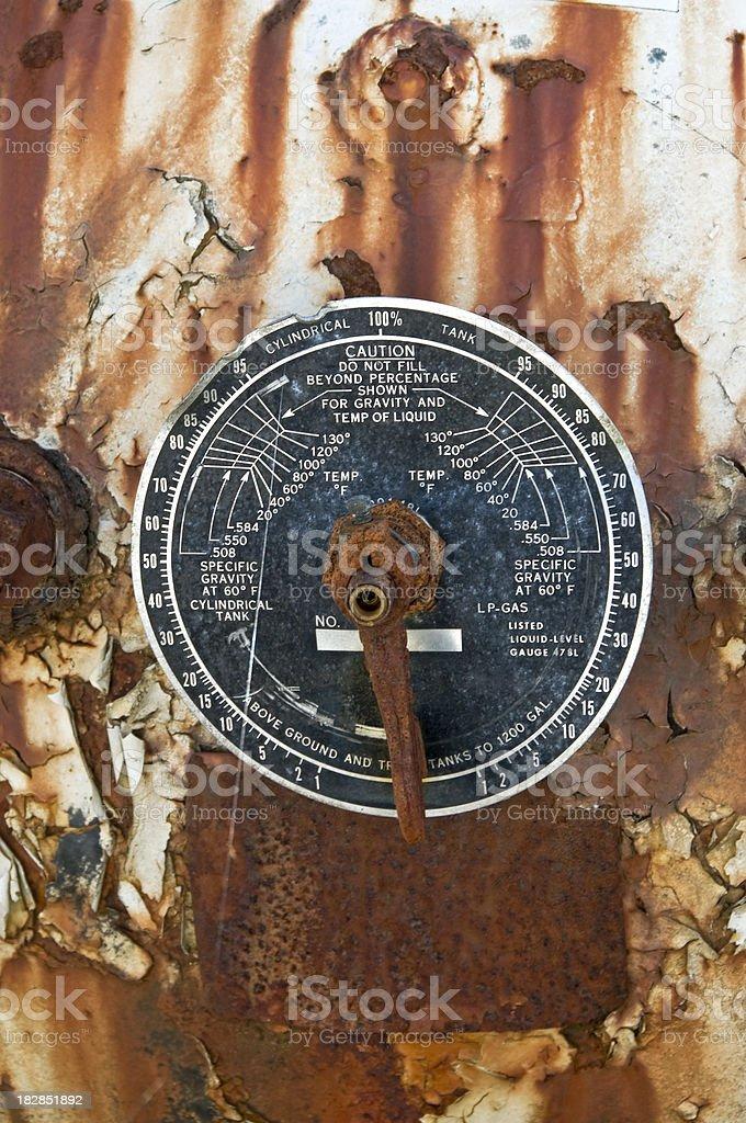 Gauge on rusty propane tank royalty-free stock photo