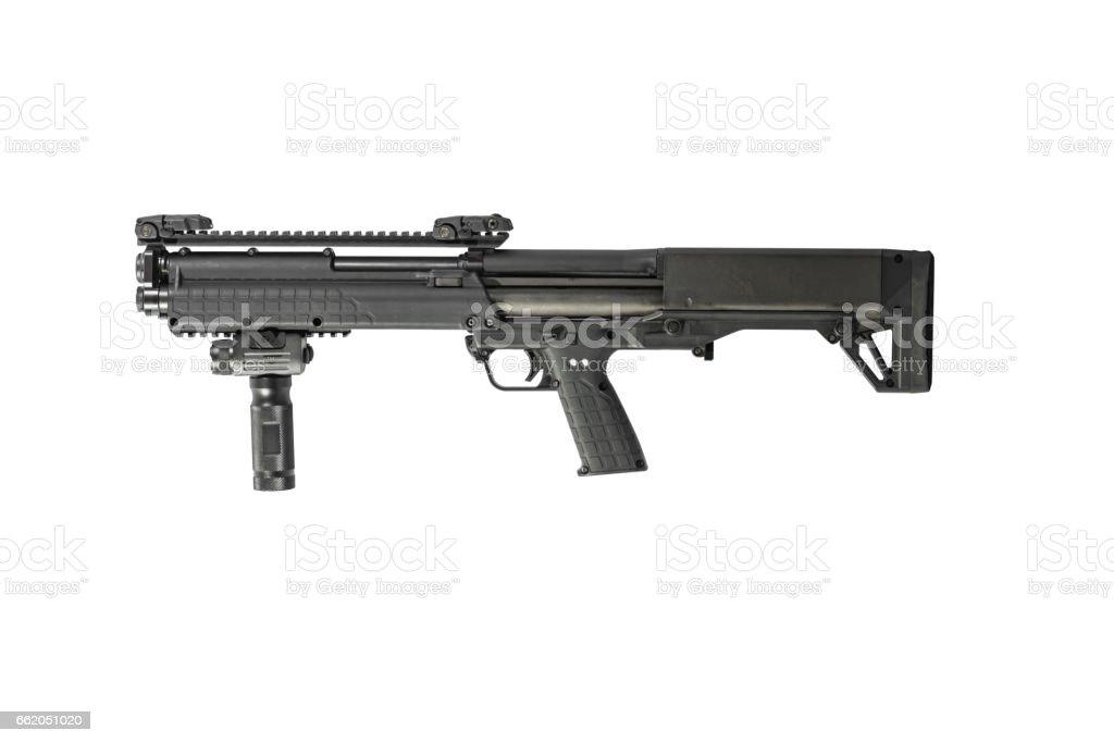 12 Gauge Pump Tactical Shotgun Left stock photo