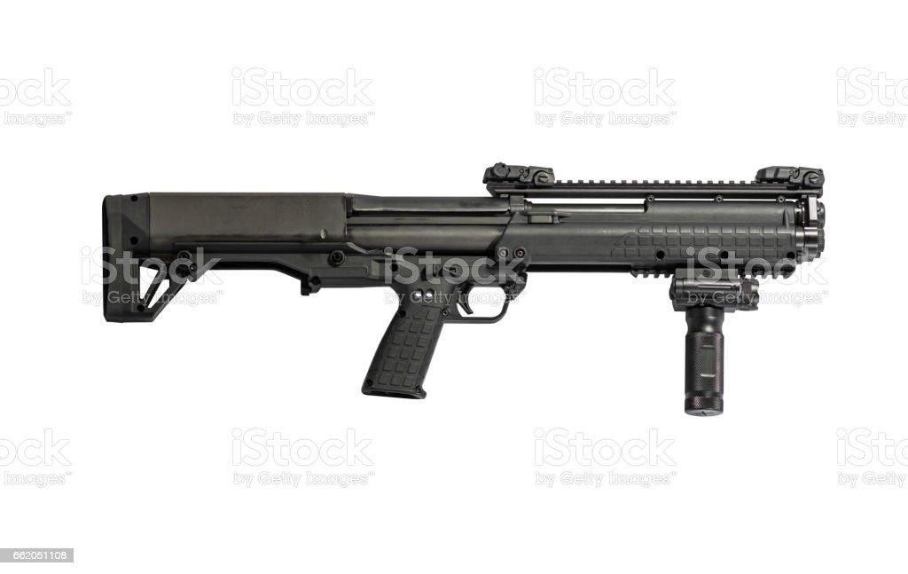12 Gauge Pump Tactical Shotgun Right stock photo