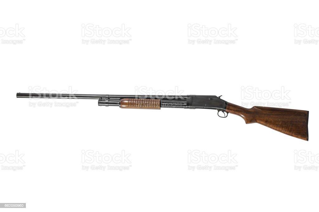12 Gauge Shotgun Isolated on White Background Left stock photo