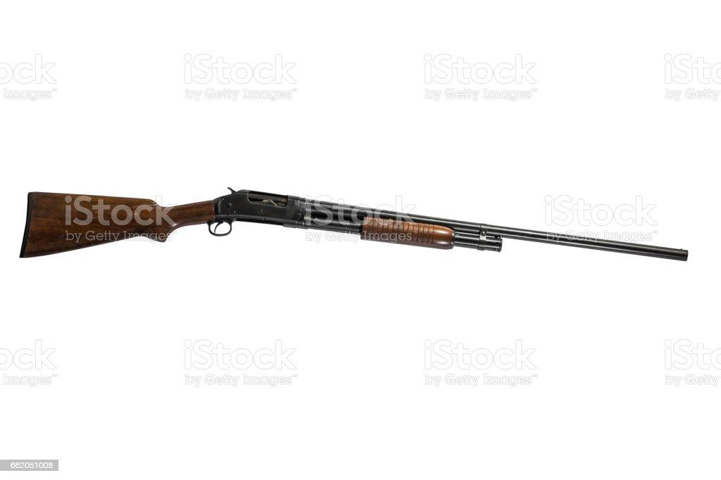 12 Gauge Shotgun Isolated on White Background Right stock photo