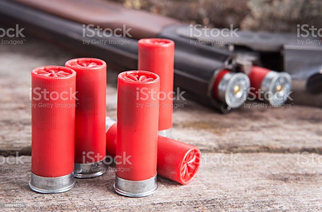 12 gauge shotgun shells stock photo