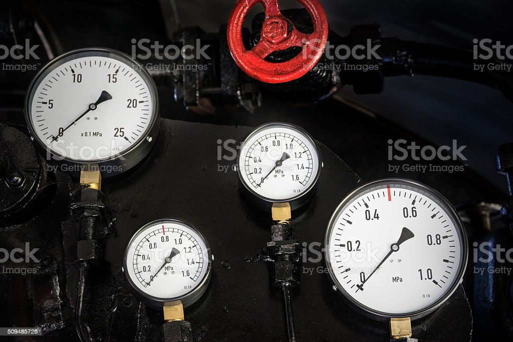 gauges of the steam locomotive 2 stock photo