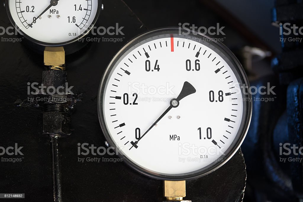 gauges of the steam locomotive 3 stock photo