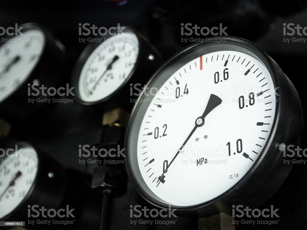 gauges of the steam locomotive stock photo