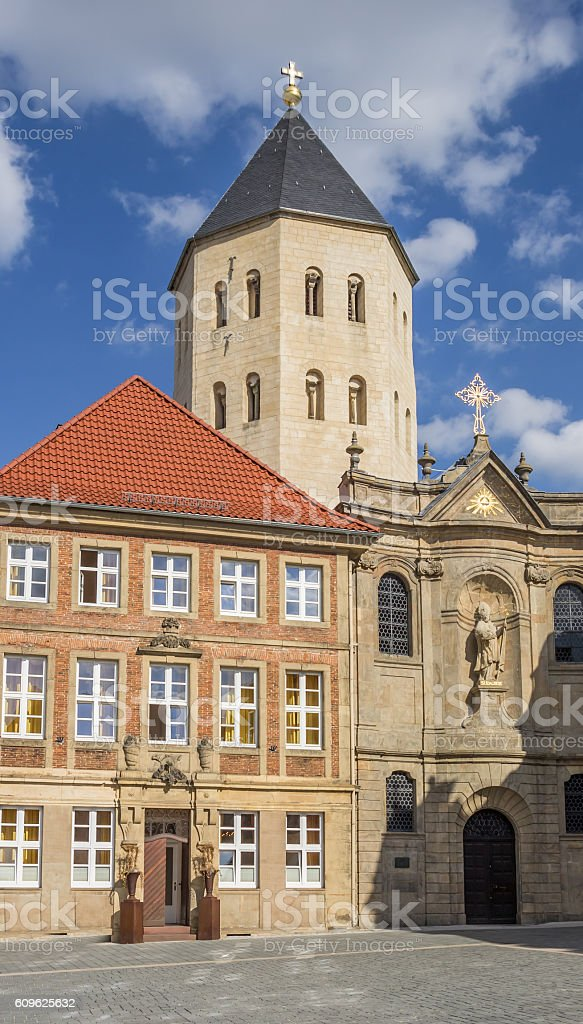 Gaukirche church at the central market square of Paderborn stock photo