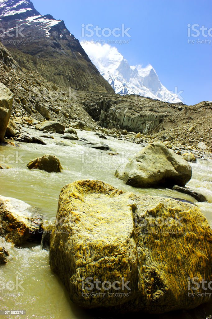 Gaumukh - Ganga Udgam (source of river Ganga) stock photo