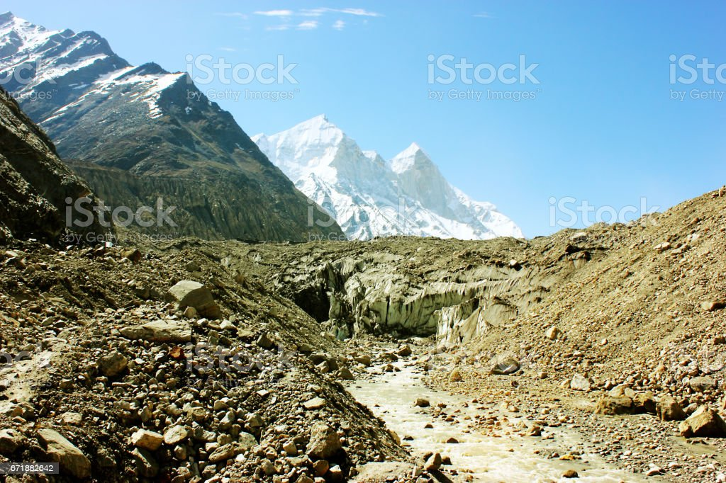 Gaumukh - Where Gangotri glacier starts melting and river Ganga starts flowing stock photo