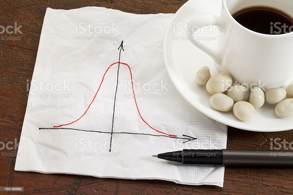 Gaussian (bell) curve stock photo