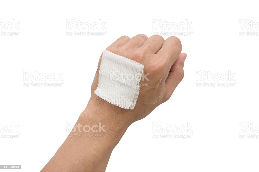 gauze bandage cover Injured hand  with clipping path stock photo