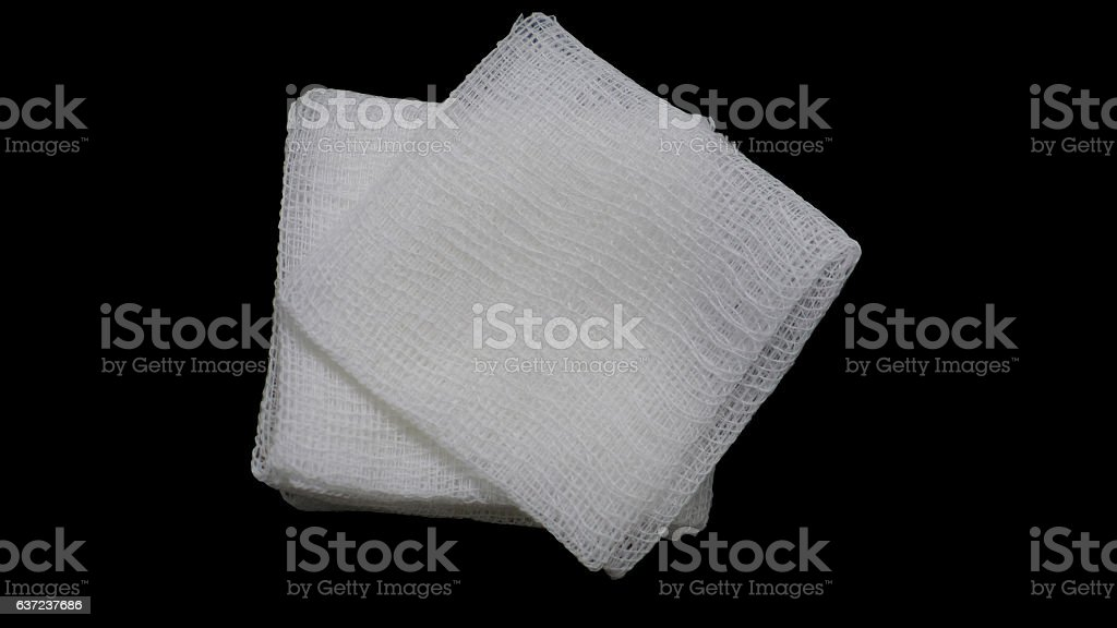 gauze pads on the black background stock photo