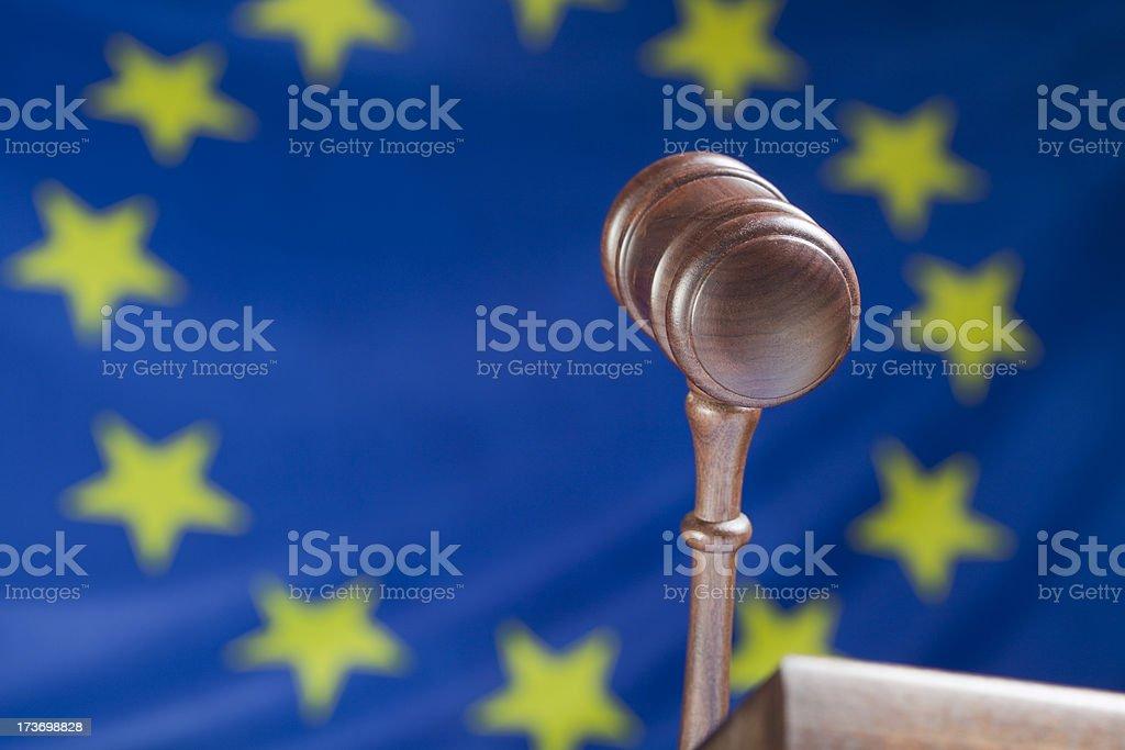 Gavel against EU flag royalty-free stock photo