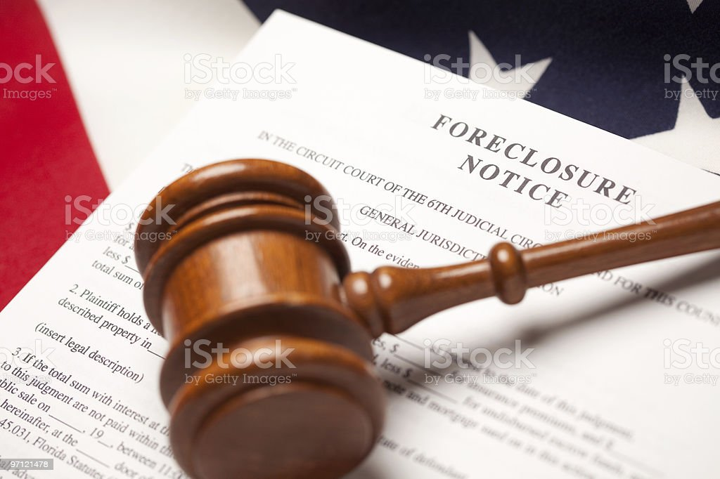 Gavel, American Flag and Foreclosure Notice stock photo