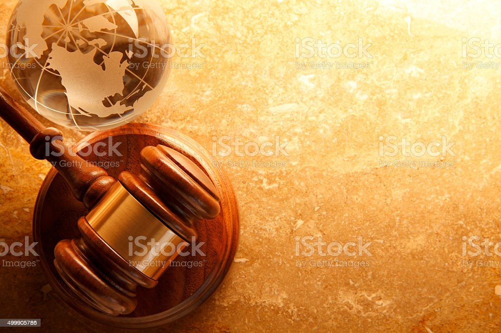 Gavel And A Globe stock photo