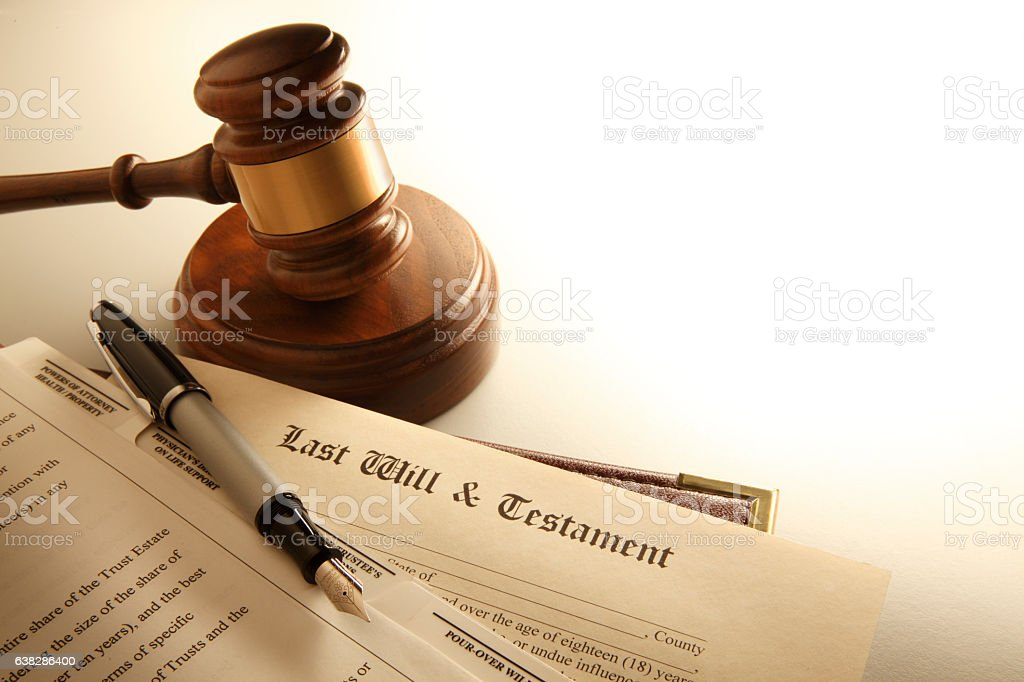 Gavel And A Last Will And Testament stock photo